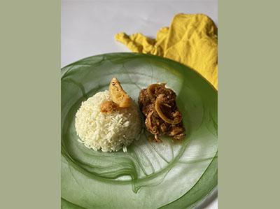 Mignon de porc noir de Bigorre aux citrons de Menton confits et riz camarguais